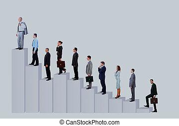 diagram., geschäftsmenschen, aus, freigestellt, hintergrund., mannschaft, weißes