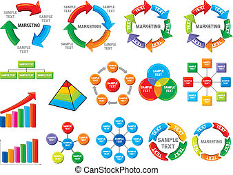 diagram, graficzny, handlowy, zbiór