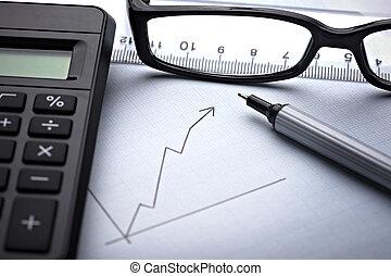 diagram, grafiek, voor, financiën, zakelijk