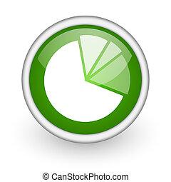 diagram green circle glossy web icon on white background