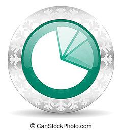 diagram green icon, christmas button, graph symbol