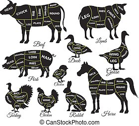 Diagram guide for cutting meat. Vector black icon...