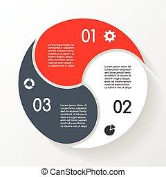 diagram, handlowy, infographic, options., 3, koło