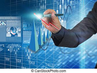 diagram., handlowy, wykres, analiza, pisać, biznesmen