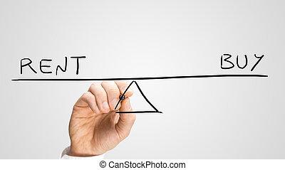 diagram, het tonen, kopen, rend, seesaw