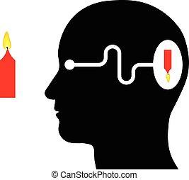 diagram, het tonen, visueel, waarneming, in, een, menselijk
