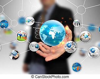 diagram, holde, firma, hånd