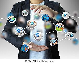 diagram, holdingen, affär, hand
