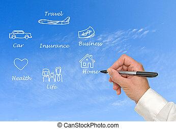 diagram, i, forsikring