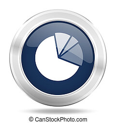 diagram icon, dark blue round metallic internet button, web and mobile app illustration