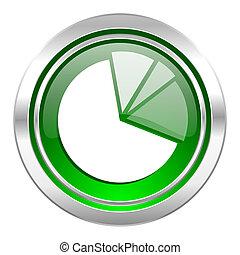 diagram icon, green button, graph symbol