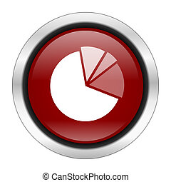 diagram icon, red round button isolated on white background, web design illustration
