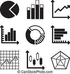 diagram, iconen, set