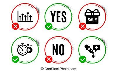 diagram, ikonok, kémia, cogwheel, pipetta, kínálat, növekedés, vektor, kiárusítás, cégtábla., időzítő, set.
