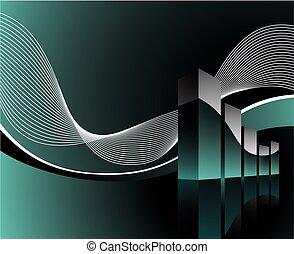 diagram illustration with wave on dark background