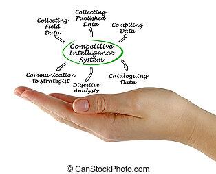 diagram, intelligentie, systeem, concurrerend