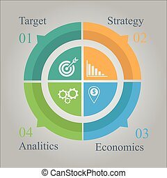 diagram, koło, handlowy