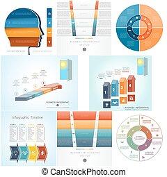 diagram, komplet, cztery, kroki, infographics, 8, szablony