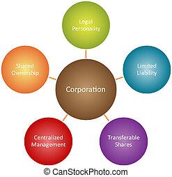 diagram, korporacja, kierownictwo, handlowy
