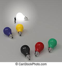 diagram, lightbulb, 3, idé, framgång, begrepp