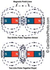 diagram, magneet, repulsion, aantrekking