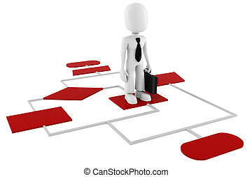 diagram, man, tabel, rood, 3d