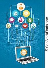 diagram, medier, netværk, sociale