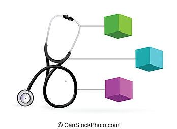 diagram, medyczny, stetoskop