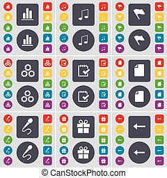 Diagram, Note, Flag, Gear, Survey, File, Microphone, Gift, Arrow left icon symbol. A large set of flat, colored buttons for your design. Vector