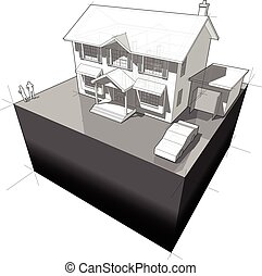 diagram of a classic colonial house with garage
