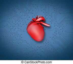 Diagram of a heart and technology in blue