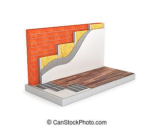 diagram of floor heating, the circuit wall insulation. 3D...