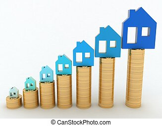 Diagram of growth in real estate prices. 3d illustration on...