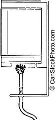 Diagram of interior of hot-air sterilizer, vintage engraving.