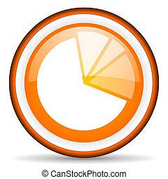 diagram orange glossy icon on white background
