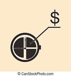 diagram, płaski, biały, dolar, czarnoskóry