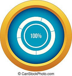 Diagram pie chart icon blue vector isolated