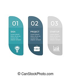 diagram, pojęcie, processes., handlowy, infographic, prezentacja, opcje, etykiety, wykres, chart., banners., 3, wektor, strony, kroki, majchry, abstrakcyjny