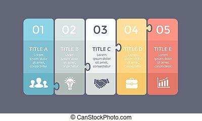 diagram, pojęcie, processes., handlowy, infographic, prezentacja, zagadka, etykiety, wykres, chart., banners., wektor, 5, strony, kroki, majchry, abstrakcyjny, opcje
