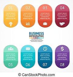 diagram, pojęcie, processes., handlowy kolorują, infographic., etykiety, wykres, chart., prezentacja, wektor, kroki, szablon, strony, 8, majchry, albo, opcje