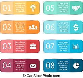 diagram, pojęcie, processes., handlowy kolorują, majchry, infographic., etykiety, wykres, wykres, albo, strony, wektor, 8, kroki, prezentacja, template., opcje