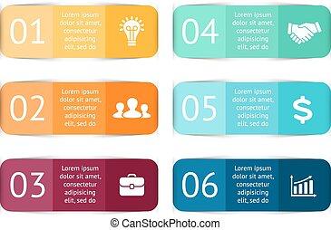diagram, pojęcie, processes., handlowy kolorują, majchry, infographic., etykiety, wykres, wykres, albo, strony, wektor, 6, kroki, prezentacja, template., opcje