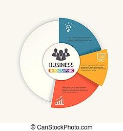 diagram, pojęcie, processes., handlowy, strony, infographic., wykres, chart., 3, wektor, kroki, szablon, prezentacja, albo, opcje