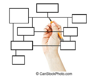 diagram, ręka, rysunek, handlowy, czysty