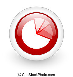 diagram red circle glossy web icon on white background