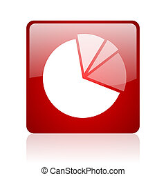 diagram red square glossy web icon on white background