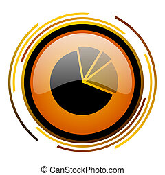 diagram round design orange glossy web icon