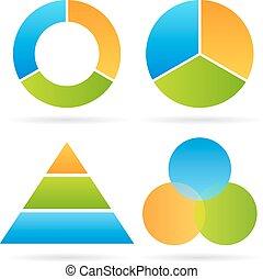 diagram, segment, drie