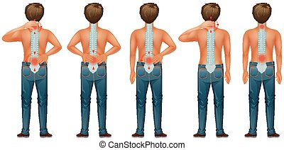 Diagram showing human man with back pain