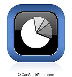 diagram square glossy icon graph symbol